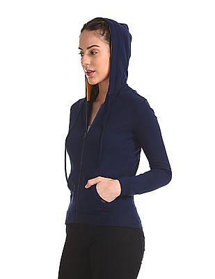 Flying Machine Women Solid Hooded Sweatshirt