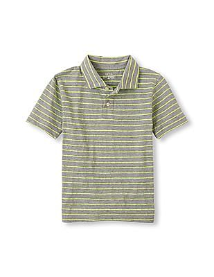 The Children's Place Boys Grey Short Sleeve Striped Polo
