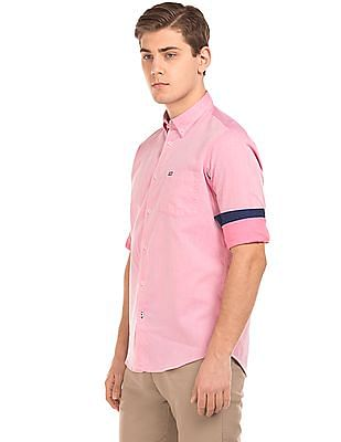 Arrow Sports Jacquard UV Protection Slim Fit Shirt