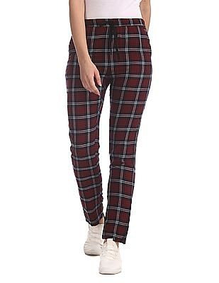 SUGR Red Insert Pocket Check Lounge Pants