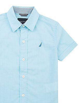 Nautica Kids Boys Patterned Short Sleeve Shirt