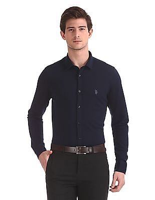 USPA Tailored Solid Slim Fit Shirt