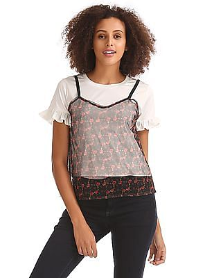 Flying Machine Women Colour Block Twofer Top