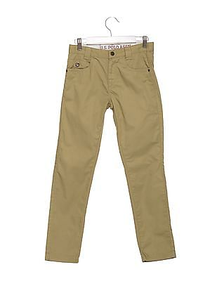 U.S. Polo Assn. Kids Boys Regular Fit Solid Chinos