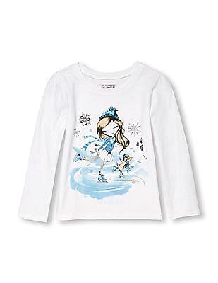 The Children's Place Toddler Girl Long Sleeve Glitter Ice Skating Girl Graphic Tee