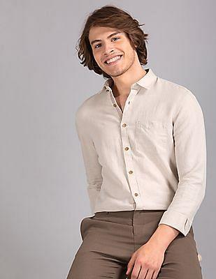 True Blue Beige Slim Fit Linen Cotton Shirt