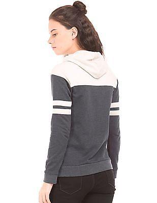 Flying Machine Women Colour Block Hooded Sweatshirt