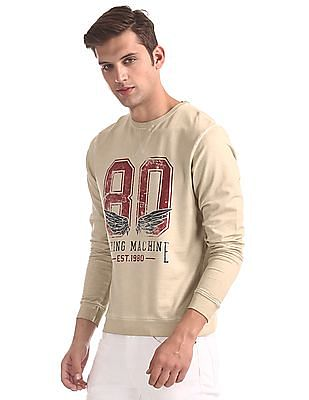 Flying Machine Beige Distressed Print Washed Sweatshirt