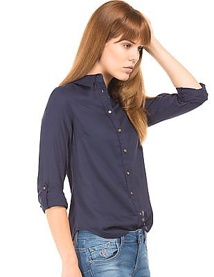 Flying Machine Women Solid Regular Fit Shirt