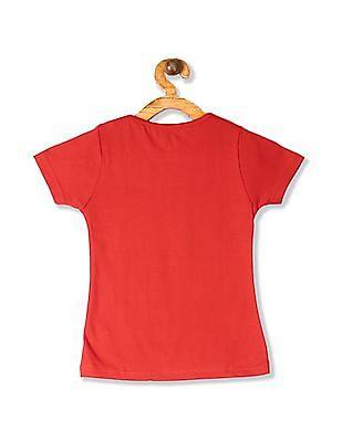 Cherokee Red Girls Ribbed Neck Glitter Print T-Shirt