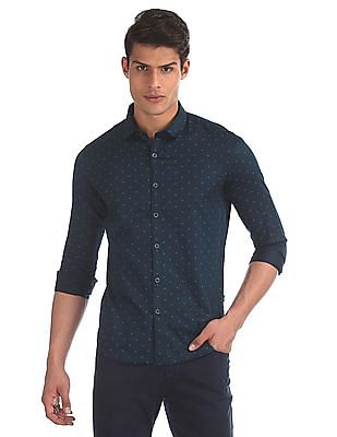 Flying Machine Blue Slim Fit Printed Shirt