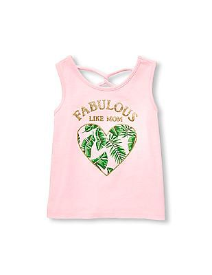 The Children's Place Toddler Girl Pink Matchables Sleeveless Embellished Graphic Criss Cross Back Tank Top