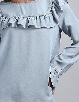 GAP Washed Denim Shirt With Yoke and Ruffle Detail