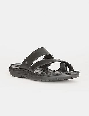 Arrow Men Black Cross Strap Solid Sandals