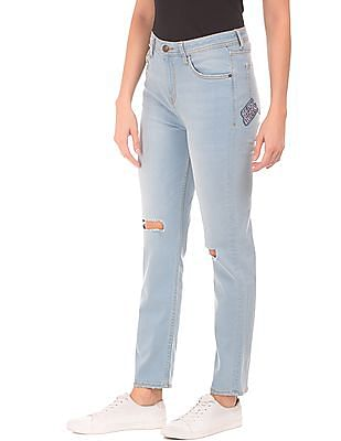 Flying Machine Women Slim Straight Fit High Rise Jeans