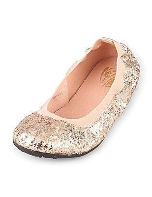 The Children's Place Girls Glitter Kayla Ballet Flats