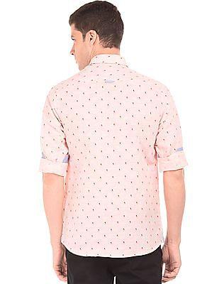 Arrow Sports Sailboat Print Cotton Linen Shirt