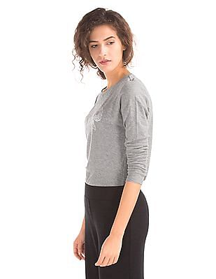 GAP Women Grey Logo Crew Neck Long Sleeve Tee