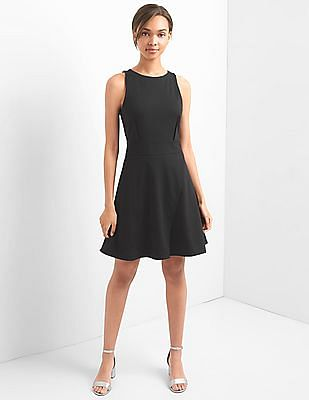 GAP Women Black Fit And Flare Wrap Dress