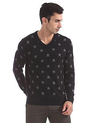 U.S. Polo Assn. V-Neck Printed Sweater