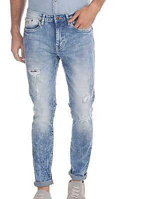 Aeropostale Blue Distressed Acid Wash Jeans