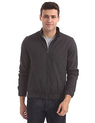 Arrow Sports Patterned Zip Up Bomber Jacket