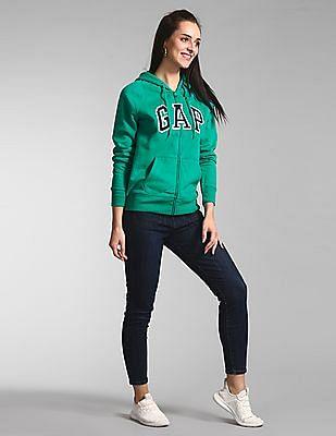 GAP Green Logo Full Zip Hoodie