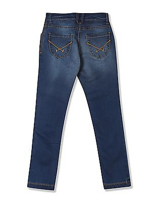 U.S. Polo Assn. Kids Girls Standard Fit Embroidered Jeans
