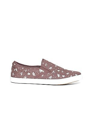 Flying Machine Printed Canvas Slip On Shoes