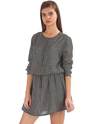 U.S. Polo Assn. Women Printed Drawstring Waist Shirt Dress