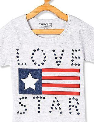 Cherokee Grey Girls Printed Cotton Jersey T-Shirt