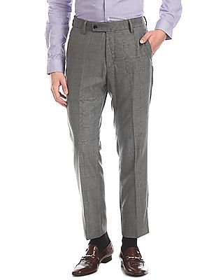 Arrow Grey Tapered Fit Check Trousers