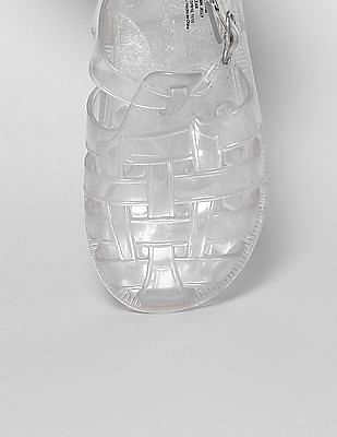 GAP Toddler Girl White Basketweave Jelly Sandals