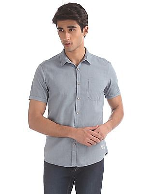 Flying Machine Blue Patch Pocket Solid Shirt