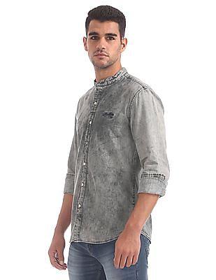 Cherokee Mandarin Collar Washed Shirt