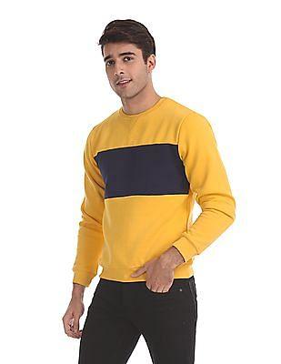 Flying Machine Yellow Crew Neck Cut And Sew Panel Sweatshirt