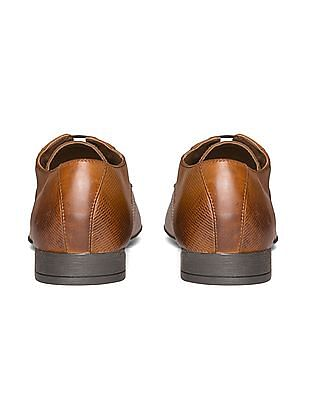 Arrow Textured Leather Derby Shoes