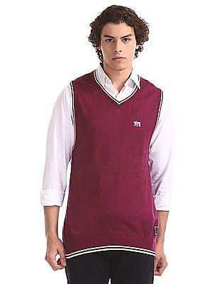 Flying Machine Purple Regular Fit Sleeveless Sweater