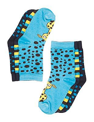 Unlimited Boys Cotton Spandex Crew Length Socks - Pack Of 3
