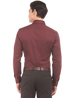 Arrow Slim Fit Patterned Weave Shirt