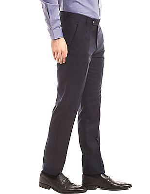 True Blue Solid Tapered Fit Trousers