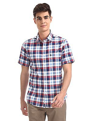 U.S. Polo Assn. Red And Blue Tailored Regular Fit Check Shirt