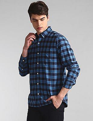 GAP Blue Button Down Collar Check Shirt