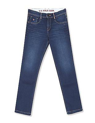 U.S. Polo Assn. Kids Boys Slim Fit Stone Wash Mid Jeans