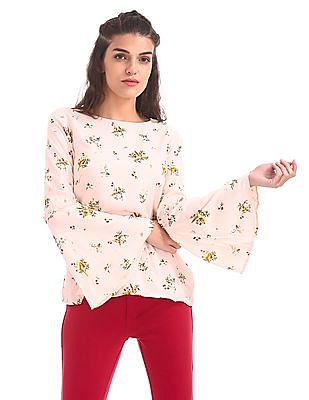 SUGR Floral Printed Bell Sleeve Top