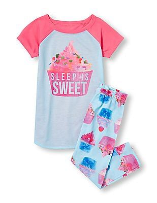 The Children's Place Girls Short Sleeve 'Sleep Is Sweet' Cupcake Graphic Top And Cupcake Print Pants PJ Set