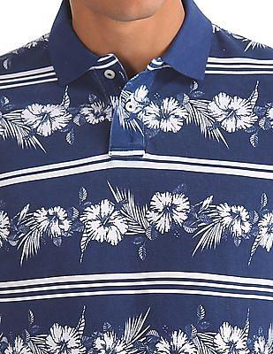 Aeropostale Floral Print Pique Polo Shirt