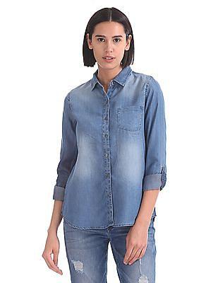 U.S. Polo Assn. Women Regular Fit Chambray Shirt