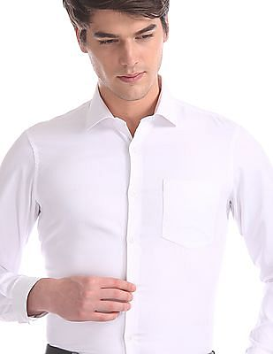 Excalibur White Slim Fit French Placket Shirt