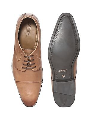 Arrow Brown Cap Toe Leather Derby Shoes